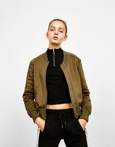 Bershka Indonesia - Bomber jacket with quilted sleeves