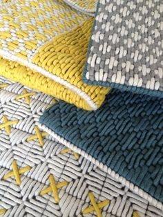 Wool woven on plastic lattice creates a hand-stitched look Cross Stitch Embroidery, Hand Embroidery, Plastic Lattice, Contemporary Embroidery, Fabric Rug, Weaving Textiles, Geometric Rug, Bargello, Knitted Blankets