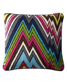 """Jonathan Adler Hand-Embroidered Bargello Pillows. Shown is """"Coral Lane"""" pattern.  $135.00 #Ships Free"""