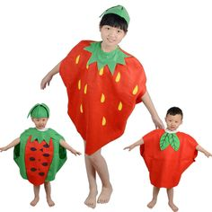 Children Kids Halloween Party Children's Day Cartoon Fruit watermelon/Strawberry/apple Costumes Cosplay Clothes for Boy Girl