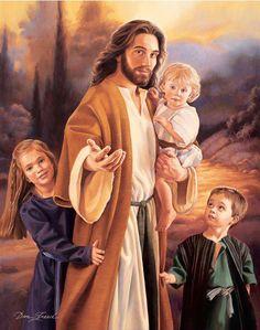 Hermosa imagen de Jesús con niños a su lado.