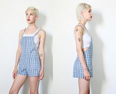 overalls dungarees 90s vintage blue white plaid by youngandukraine
