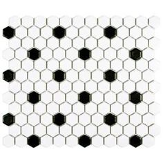 Merola Tile Metro Hex Matte White with Black Dot 10-1/4 in. x 11-3/4 in. x 5 mm Porcelain Mosaic Tile (8.54 sq. ft. / case) FDXMHMWD at The Home Depot - Mobile