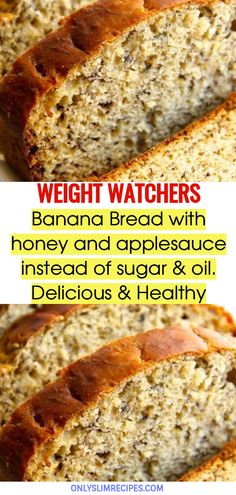 Banana Bread with honey and applesauce instead of sugar & oil. Delicious & Healthy // Banana Bread with honey and applesauce instead of sugar & oil. Weight Watcher Desserts, Weight Watcher Banana Bread, Weight Watchers Meals, Weight Watchers Recipes With Smartpoints, Weight Watchers Free, Skinny Recipes, Ww Recipes, Diabetic Recipes, Cooking Recipes