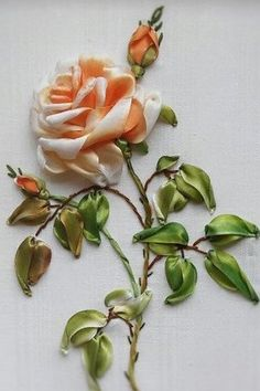 Wonderful Ribbon Embroidery Flowers by Hand Ideas. Enchanting Ribbon Embroidery Flowers by Hand Ideas. Ribbon Embroidery Tutorial, Ribbon Flower Tutorial, Silk Ribbon Embroidery, Hand Embroidery Patterns, Embroidery Kits, Embroidery Designs, Embroidery Stitches, Embroidery Saree, Embroidery Supplies