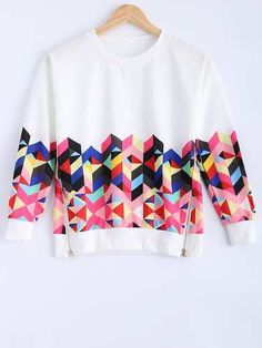 Prezzi e Sconti: #Long sleeve colorful geometrical sweatshirt  ad Euro 8.55 in #Women #Moda