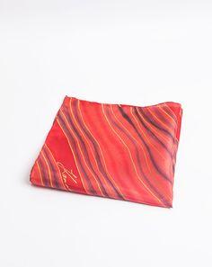 Hand Painted Silk Mens Wedding Pocket Square by LigaKandele