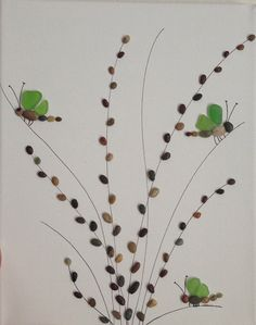 Pebble and Sea Glass Art/ Pebble Art/ by EmilysNatureEmporium, $45.00