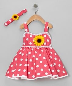 Take a look at this Pink Polka Dot Sunflower Dress & Headband - Infant & Toddler by Shanil on #zulily today!