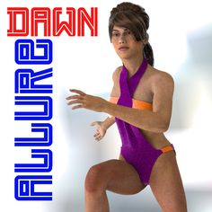 Dawn Allure Swimwear - $1.99 :  Allure Swimwear for summer fun. This was made specifically for Dawn and her shapes. Does not work in Poser at this time.  You get 5 different colors and textures.  Needed:  PC/Mac Compatible  Daz 4+  Dawn by HiveWire3D