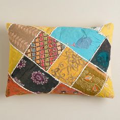 With a colorful patchwork design of recycled Indian sari scraps, our Multicolor Sari Patch Lumbar Pillow adds an eye-catching accent to your décor. Textile Patterns, Textile Design, Print Patterns, Old World Bedroom, Lumbar Pillow, Throw Pillows, Sari Fabric, Patchwork Designs, Dorm Decorations