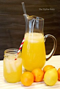 Ingredients: Yield: 64 oz Serving Size: cup over ice 1 cup sugar 1 cup water oranges 1 lemon 4 cups water 2 cups ice Orangeade Recipe, Cocktails Made With Rum, How To Make Lemonade, Coliflower Recipes, Cocktail And Mocktail, Ground Beef Recipes Easy, Baking With Kids, Homemade Baby Foods, Frozen Drinks