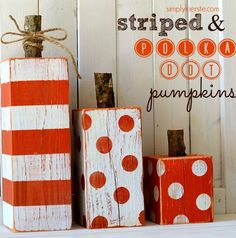 With this simple DIY project, you can create rustic striped and polka dot pumpkins just in time for Halloween.