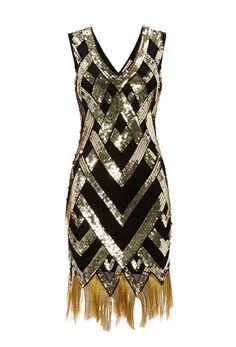 UK10 US6 Black Gold Vintage inspired 1920s vibe di Gatsbylady, £49.00
