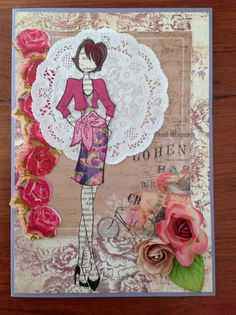 Birthday card made with Julie Nutting Natalie stamp