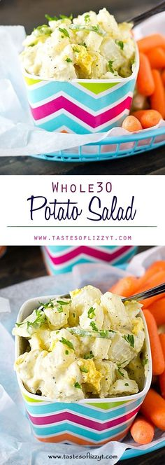 Whole30 Potato Salad Recipe - Tastes of Lizzy T. A Whole30 Potato Salad that will help you keep your healthy eating goals during the summer picnic season. It's creamy, homemade seasoned mayo dressing boosts this fresh salad's flavor.