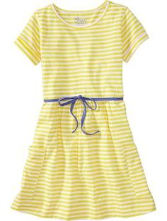 Looks like a sweet and comfy little dress for the little lady. Girls Tie-Belt Pocket Dresses | Old Navy $16.94