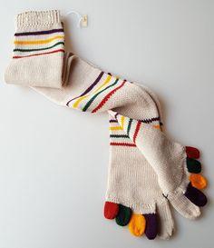 Vintage novelty toe socks 1970s fad beige knit multi-color stripes never worn #Unbranded