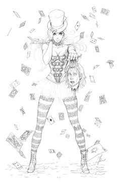 Calies Revenge Pencils by ~Dawn-McTeigue Cartoons & Comics / Traditional Media / Comics / Pages	©2012-2013 ~Dawn-McTeigue Mature Content Interior page pencils for Zenescopes Wonderland Annual 2012.   Pencils by me. I had so much fun working on her outfit. And yup, there are 52 unbroken cards