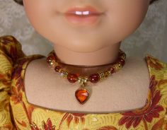 AMBER Vintage HEART NECKLACE for American Girl Dolls Glass Beads with gold for Caroline, Regency,  Elizabeth Felicity Cecile via Etsy.