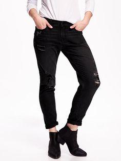 Distressed Boyfriend Skinny Ankle Jean