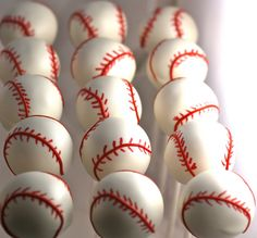 baseball cake pops - maybe i need a edible pen? can't get it right with chocolate and piping bag