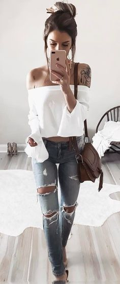 casual style addict off shoulder top + rips