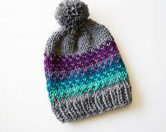 Super Slouchy Colorful Fair Isle Women's Knit Beanie, Women's Chunky Knit Pom Pom Beanie, Chinky Knit Winter Toque, Slouchy Knitted Beanie