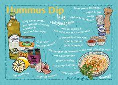 Hummus dip zo lekker en makkelijk te maken! Gezond met kikkererwten, tahinpasta en kruiden als knoflook, djinten, ketoembar en paprikapoeder. Dippen met brood, rauwkost of gegrilde aubergine. Illustratie van Irms voor de Backmitra. Voor een gezond en fit leven! #recipe #recept # illustration  #food #healthy #lifestyle Hummus Dip, Own Website, Pattern Design, Dips, Print Patterns, Healthy, Bullet Journal, Lifestyle, Decor