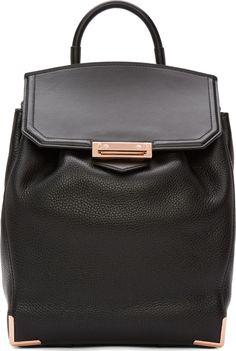 Alexander Wang Black Soft Pebbled Leather Prisma Skeletal Backpack