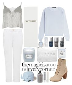 """white lies."" by bluveraa ❤ liked on Polyvore featuring Timberland, Forever New, River Island, IRIS VON ARNIM, Sloane Stationery, Korres, philosophy, Jonathan Adler, Fresh and Hansel from Basel"