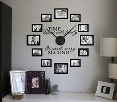 Variations Creative Frame Wall Decoration for Your Home. Amazing and Creative Frame Wall Decoration for Your Home. Bored with a plain wall look? Do not rush to replace the paint or coat it with wallpaper. Family Room Walls, Family Wall Decor, Frame Wall Decor, Room Wall Decor, Living Room Decor, Family Wall Photos, Family Clock, Living Room Clocks, Gallery Wall Frames