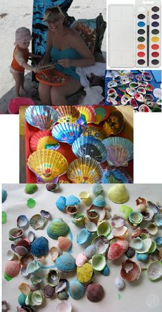 Great toddler and kid beach craft!  Pack a few paint brushes and a tray of watercolor paints.  Collect shells, sticks, and other found objects.  Wash and lay out to dry.  Then get busy with painting them with colorful patterns, faces, and animals!  Great to give as gifts, save as vacation souvenirs, or display in a glass canister.  Hour of fun for kids, and super easy clean up!