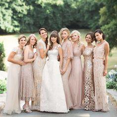 """My sweet girls  Each wearing a different blush or champagne-colored @bhldn gown.  @martha_weddings @polly_alexandre #jenfredwed2015 #margoandmeandmartha…"""
