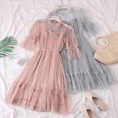 Stylish Dresses, Cute Dresses, Vintage Dresses, Casual Dresses, Girls Fashion Clothes, Teen Fashion Outfits, Fashion Dresses, Fairytale Dress, Fairy Dress