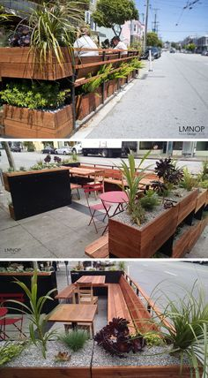 This Parklet In San Francisco Is Covered in Succulents and Herbs - This parklet surrounded by wood and plants, has been designed by Kristin Suanders of Rebar Group, Outdoor Restaurant Patio, Café Restaurant, Restaurant Exterior, Outdoor Cafe, Poket Park, Mini Cafe, Bar A Vin, Sidewalk Cafe, Street Furniture