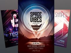 Party Flyer Bundle Vol27 by styleWish (3 PSD files - $14) #design #poster #graphic