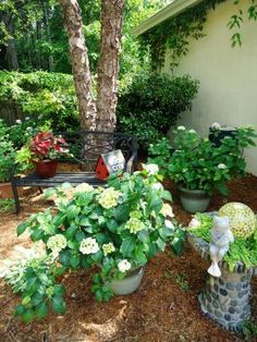 I adore this garden. I prefer to use a lot of shade plants too because they are usually easier to care for. Also I am partial to lush evergreen type plants. So beautiful.