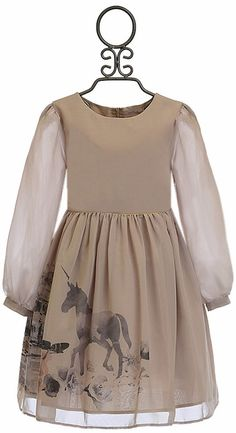Patachou Horse Dress for Girls in Champagne (Size Girls Boutique Dresses, Girls Dresses, Little Dresses, My Girl, Daughter, Horses, Costumes, Champagne, Stuff To Buy
