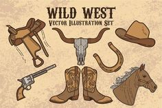 Coboy Wild West Vector Set by weer on @creativemarket