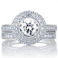 Karisma's Halo Cubic Zirconia Wedding Ring Set