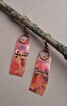 Copper Earrings, Copper Jewelry, Rustic, Boho Jewely