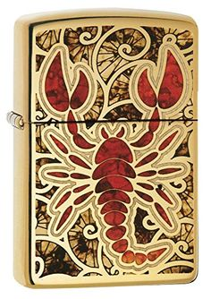 Zippo Crustacean Design Pocket Lighter High Polish Brass -- Continue to the product at the image link.