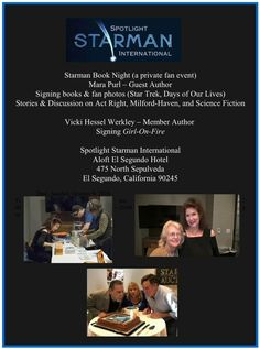 10-9-16 Starman Book Night, Private Fan Event for Sci-Fi fans of Starman with guest author Mara Purl of Star Trek