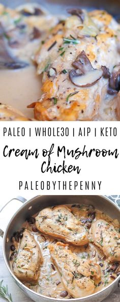 My Cream of Mushroom Chicken is an easy one pan meal, that can be cooked in 30 minutes! The cream of the sauce, the warmth of the spices and buttery texture of these mushrooms create an extraordinary dinner. Healthy Low Carb Recipes, Low Carb Dinner Recipes, Ketogenic Recipes, Keto Recipes, Breakfast Recipes, Camping Recipes, Shake Recipes, Keto Dinner, Dessert Recipes