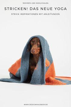 Mein neues Thema ist 'Stricken im Interior' und angefangen hat alles mit einem Schal. Ich habe hier ein paar Strick-Interior-Inspirationen für dich und einige sogar zum selber stricken, mit Anleitung. #wohnen #einrichten #ideen #interior #design #wohnzimmer #livingroom #schlafzimmer #bedroom #stricken #anleitungen #dekoration #hund #hundedecke Wool And The Gang, Yoga, Hound Dog, Green Pattern, Garter Stitch, Stitch Kit, Easy Knitting, Dog Bandana, Four Legged