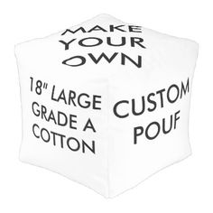 "Custom Large 18"" Square Grade A Cotton Pouf - personalize gift idea special custom diy or cyo"