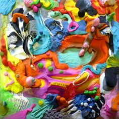 "Saatchi Online Artist: Mary Robertson; Mixed Media, 2011, Painting ""Primal Fold""  This is made out of modeling clay."