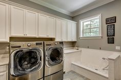 I want to have a laundry room, especially the one with the pet-washing station