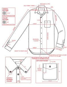 Men's shirt tech sketch
